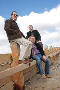 Our moody publicty shot on Worthing beach. From left: Russ, Steve and Martin
